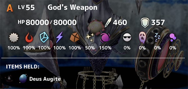 God's Weapon Boss Stats