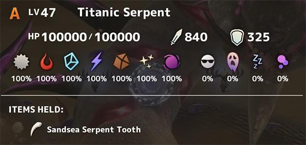 Titanic Serpent Stats