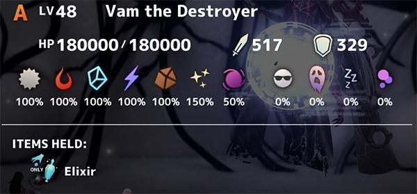 Vam The Destroyer Stats